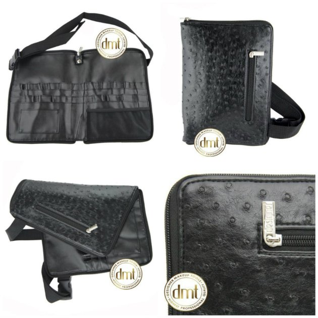 Faux Ostrich Leather Zip Around Makeup Brush Roll and Belt