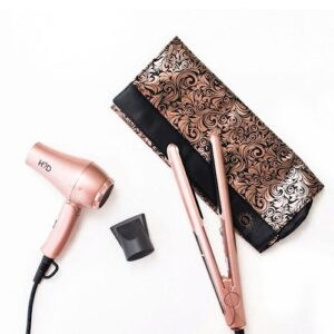H2D Linear II Rose Gold Hair Straightener and Travel Dryer Gift Pack