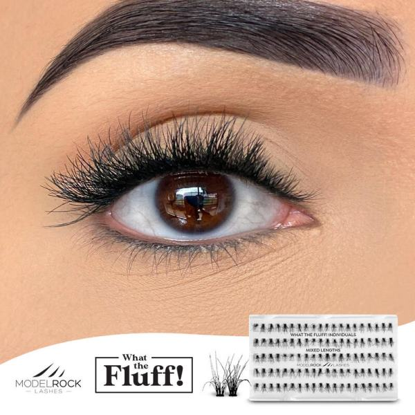 MODELROCK What The Fluff Lashes - Individuals 'MIXED LENGTHS' - 100 / pk clusters