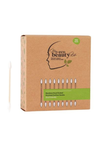 My Eco Beauty Kit Bamboo Disposable Dual ended Pointed Cotton Swabs 100pk