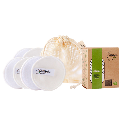 My Eco Beauty Kit Thin Bamboo Cotton Re-useable Makeup Remover Pads- White 6pk Includes 'bonus' Cotton Wash Bag